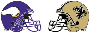 Minnesota Vikings + New Orleans Saints Helmets