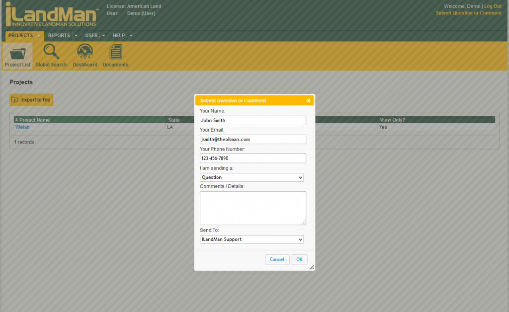 Submission Form Screenshot